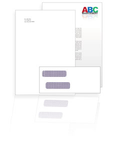 Single window envelope in front of an example of a printed letter showing the address on a separate page.