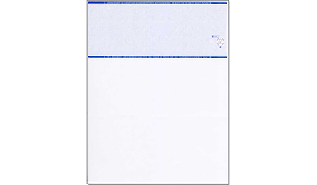 Blank Blue Laser Check Stock with Check on Top