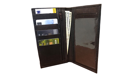 Brown leather checkbook cover open