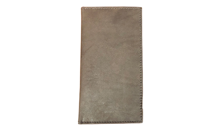 Brown leather checkbook cover closed