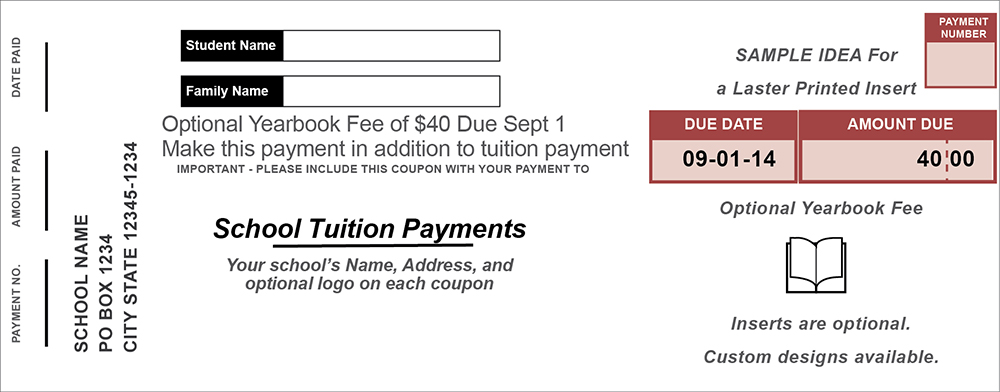 Laser Insert for School Tuition Coupon